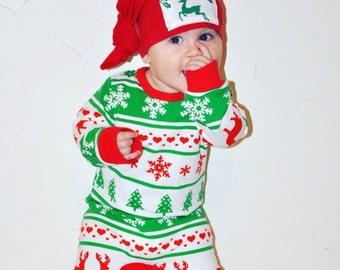 SALE!! Baby Christmas Outfit, Christmas Pajamas, Baby's First Christmas, Baby Christmas Pjs, Christmas Gift, Christmas jammies, baby romper