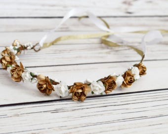 Handcrafted White and Gold Flower Crown - Wedding Hair Wreath - White and Gold Wedding - Bridal Flower Crown - Flower Girl Halo -Renaissance