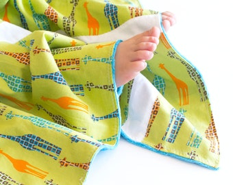 Baby Blanket, Small Patchwork with Minky for Baby Urban Circus Giraffes with Turquoise Minky
