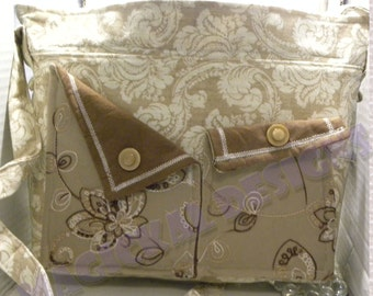 Pockets, Pockets, Pockets Handbag - Sandstone Garden adjustable strap, 10 pockets, cotton, beige, brown, purse, one-of-a-kind, ladies
