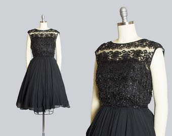 Vintage 1950s Dress | 50s Beaded Sequin Black Chiffon Sheer Lace Full Skirt Party Dress (small)