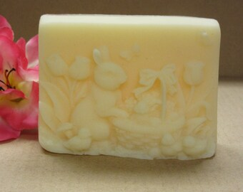 Easter Bunny soap with baby chicks glycerin soap  scented in Honey Pear handmade soap