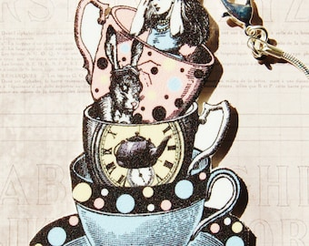 Queen for a Day - Alice in Wonderland Tea Cup Necklace - Shrink Plastic