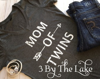 Mom of Twins,  Distressed Women's V Neck T shirt in a Variety of Colors