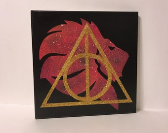 """Clearance - """"Gryffindor"""" - Painted Canvas Inspired by Harry Potter"""