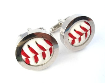 Groomsmen Cufflinks, Real Baseball Cufflinks, Wedding Cufflinks, Groom Cufflinks, Fathers day