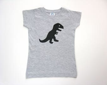 Girl's Dinosaur Shirt, T Rex Hand Painted on a Heather Gray Shirt, Dinosaur Birthday Party, Short Sleeve Tee or Top for Baby or Toddler
