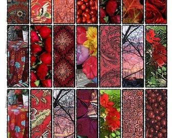 Nuances de rouge Collage feuille 1 x 3 pouces Rectangles pour lames de verre - Instant Download - imprimable