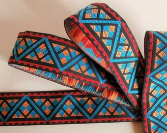 G37 stripe - Blue, orange, red and black woven Ribbon. 2.5 cm