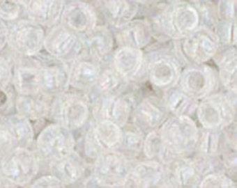 8/0 Transparent Rainbow Crystal Toho Glass Seed Beads 2.5 inch tube 8 grams TR-08-161