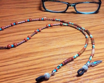 "EYE GLASS HOLDER,western,goldstone,jasper,turquoise,25""silver feather"