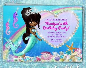 Mermaid Princess Invitation - birthday party printable custom made invite - black hair dark skin - girls bday digital invitation