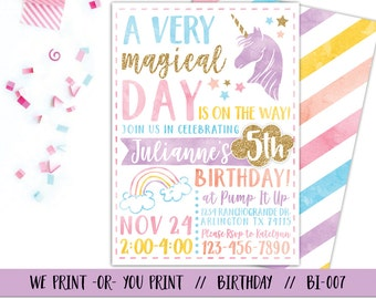 Unicorn Invitation, Rainbow Invitation, Magical Birthday Invitation, Unicorn Birthday Invitation, Rainbow Birthday Invitation, Unicorn Party