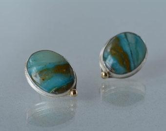 Peru Opal Earrings in Silver, Blue Opal Earrings on Post, Turquoise blue Earrings, Blue Statement Earrings, Large Stone Earrings on Post