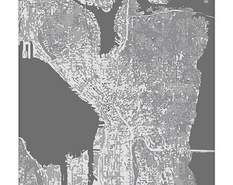 Seattle Cityscape / Graphic City Map Art Print / Washington Map Poster / 8x10 Digital Print