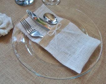 10 Burlap Silverware Holders – Color: White/Cream, with Brown Burlap Strip and White/Cream Burlap Bow