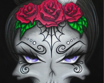8x10 Print Gothic Fantasy Lowbrow Skull Face Eye Horror Day of the Dead Rose Tattoo Halloween Art Painting Reproduction Natalie VonRaven