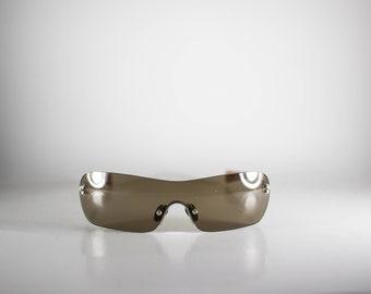 ONYX Vintage Sunglasses Unisex Silver Metal Plastic Shield 2000 ONYS151E-2