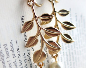 Pearl Beaded Gold Leaf Earrings