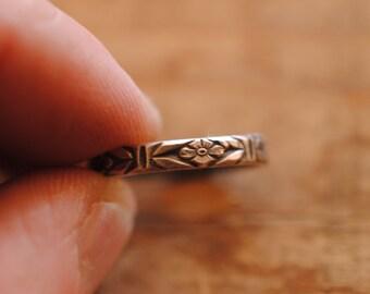 Flower Pattern Stacker Ring | Sterling Silver