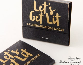 LET'S GET LIT! Matchbooks - Wedding Favors, Wedding Matches, Party Favors, Birthday Favor, Personalized Matches, Custom Matchbook, Rose Gold