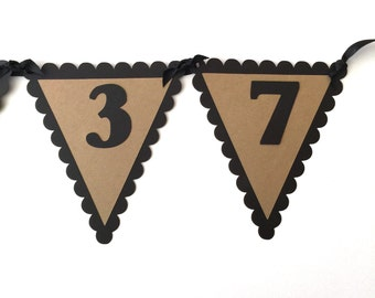 80th Birthday Pennant Banner - VINTAGE 1938, Black and Kraft Brown or Your choice of colors
