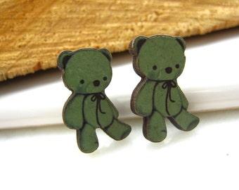 Wooden Bear Stud, Cute little bear earrings, wooden bear, bear stud, wooden stud, Kids earrings