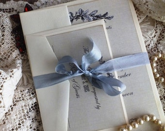 Vintage Romantic Elegant Grey Linen Background Wedding Invitations Handmade SAMPLE by avintageobsession on etsy