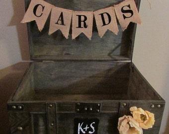 Rustic Wedding Card Box Extra Large, Rustic Wedding Trunk Box with Custom Burlap Banner and Initials, Trunk Wedding Card Box D1D