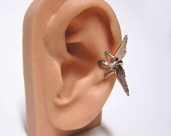 Bronze Dragon Ear Cuff, dragon body wrap around ear (br)