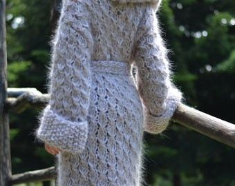 ORDER hand knitted mohair coat handmade cardigan mohair hoody chunky knitted coat mohair cardigan hooded mohair sweater fuzzy by Dukyana