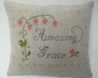 Amazing Grace Mini Pillow Cross Stitch Christian Shelf Pillow