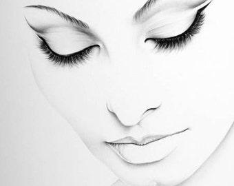 Sophia Loren Pencil Drawing Fine Art Portrait Print Hand Signed by Artist