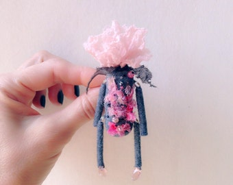 Flower Art Brooch - Flower Brooch - Flower Lapel Pin - Fresh Pink - Pink Rose - Elf - Flower Elf - Silk Flower - Lapel Flower