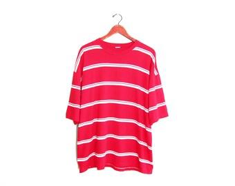 vintage t shirt / striped t shirt / oversize t shirt / 1990s red and white oversize baggy striped t shirt XL