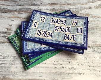 Vintage Bingo Cards, Bingo Lotto Cards, Bingo Card Set, Green Blue, Game Cards, Vintage Games, Retro Paper