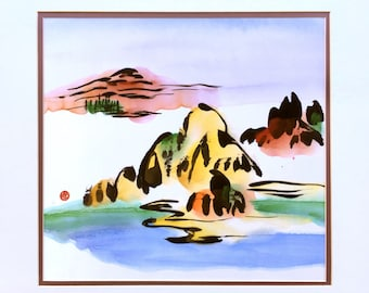 Abstract Landscape, Original Chinese painting, Satin Fabric, Mountain and Water, Decor, Wall Art, Japanese Painting, Watercolor, Zen, Modern