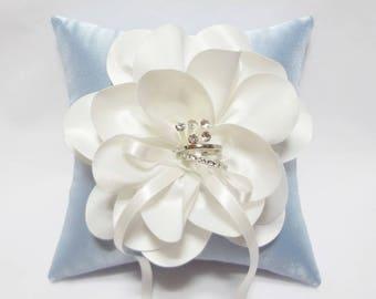 Wedding ring bearer pillow, Blue ring pillow, white ring pillow, blue weddings, wedding ring cushion, ring bearer pillow