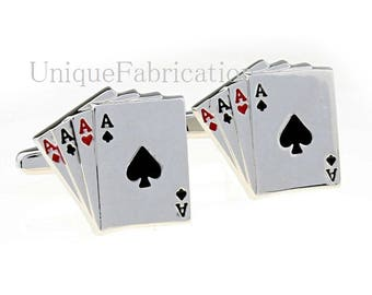 Men's Cuff Links - Deck of Cards Aces  Wedding / Prom / Everyday
