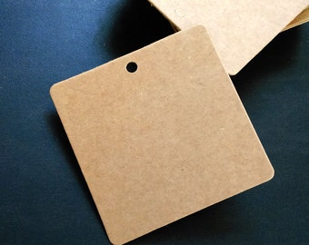 Brown Kraft Tags w/ Strings /Gift Tags /Hang Tags/ Price Tags/ Wedding Name Tag/ Favor Tags/ Packaging Tags /Paper Tag / Square 6*6cm 50 pcs