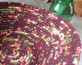 Burgundy and Pink Winter Floral Coiled Fabric Basket - LARGE - Organizer, Catchall, Handmade by Me