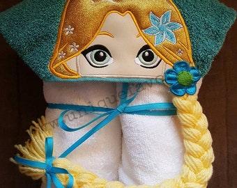 Princess Rapunzel Tangled Inspired Hooded Towel