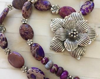 Tropical Purple Flower Necklace