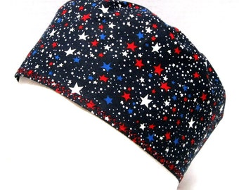 Mens Scrub Hat or Surgical Cap  Red, White and Blue Stars on Navy