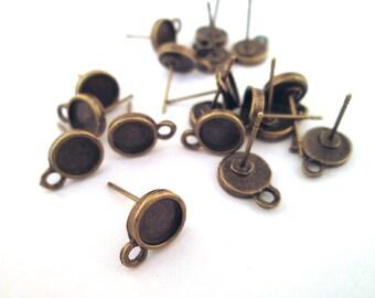 6,5 mm Messing Lünette Anschluss Ohrringe mit Ohrstopper mit Flügeln aus, wählen Sie Ihre Menge, C147