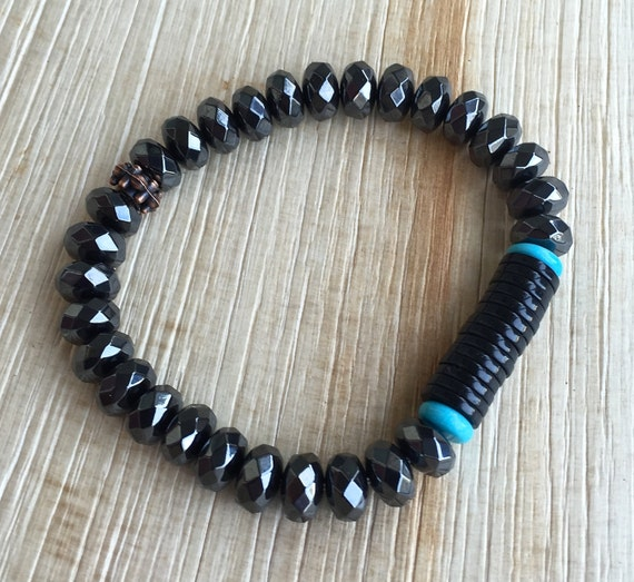 Hematite , Black Onyx , Turquoise Mala Bracelet , Stacking bracelet Unisex Endurance Grounding Protection Prosperity