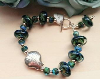 Sterling Silver Seashell with Artisan Lampwork Bracelet