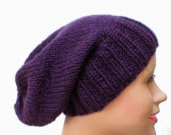 Dark purple slouchy hat, toque, purple hat, winter hat, slouchy beanie, mens womens knit hat, chemo cap, ski toboggan hat, skateboard hat