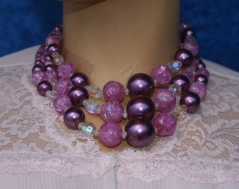 Vintage 50s 60s 1960s Mad Men Purple Costume Jewelry Beads Beaded Necklace Three Strands in One