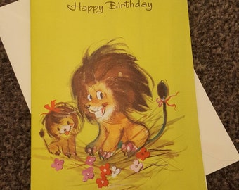 Vintage 1970s Lion Happy Birthday Card with envelope